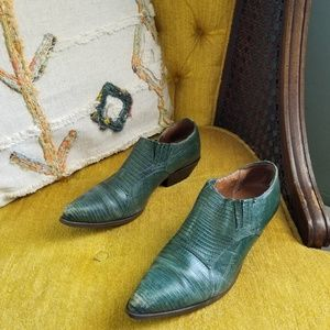 🆕️ Vintage - Green Leather Ankle Booties